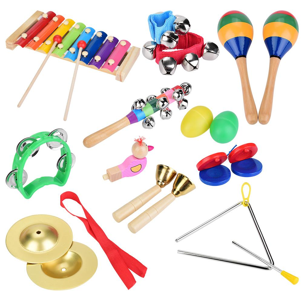 12Pcs  Children Percussion Toys Toddler Musical Instruments Wooden Xylophone Set Instruments For Kid Preschool Education Toys