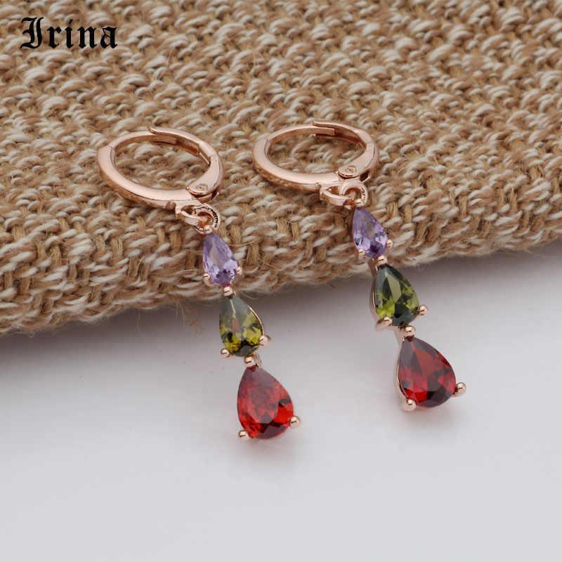 Irina 585 Đơn Giản Thời Trang 3 Màu giọt Nước AAA Cubic Zircon Hoa Hồng Màu Sắc Hoa Tai Nữ Phổ Biến Cưới Quà Tặng Sinh Nhật