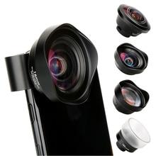 PHOLES 4 en 1 téléphone portable Kit dobjectif de caméra téléobjectif grand Angle Macro Fisheye objectifs pour Iphone Xs Max X 8 Huawei P20 Pro