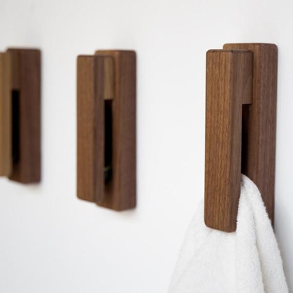 Rustic Wood Towel Hooks Wall Mount Storage Hanger Cap Rack Strip Home Decor Organization Bathroom Kitchen Knobs