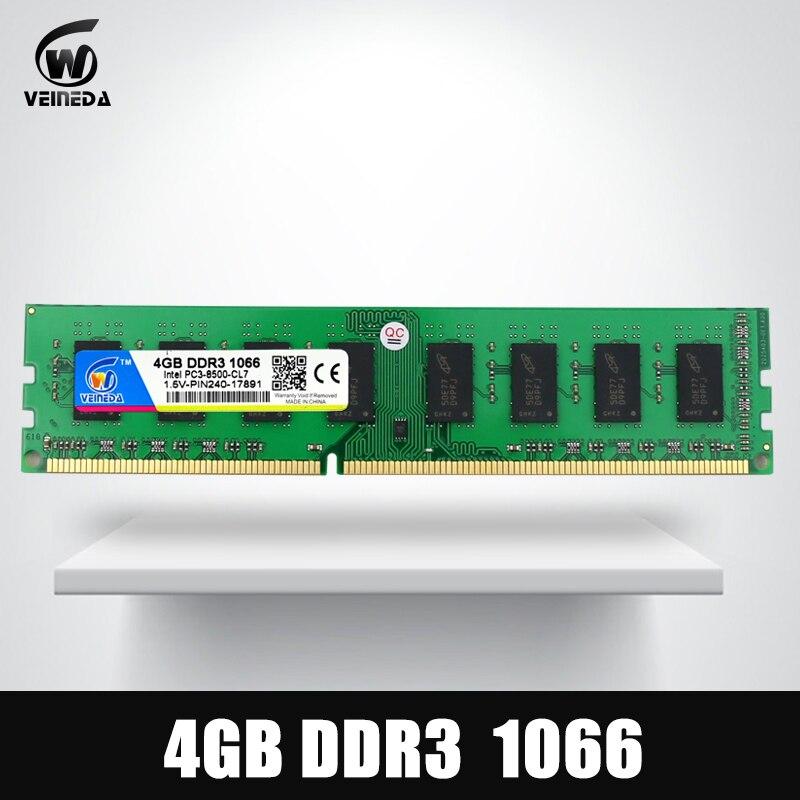 VEINEDA Memoria ram DDR3 4 GB 1066 MHz ddr 3 4 GB PC3-8500 Memoria 240pin 1333 compatible 1600 AMD intel de escritorio