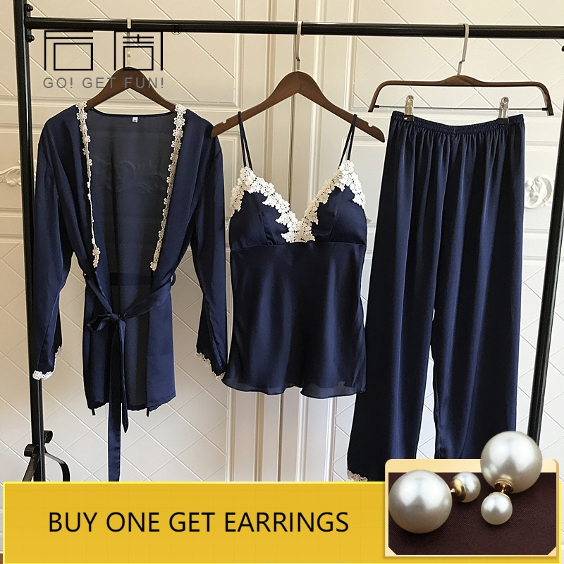 Satin   Pajamas   for Women Elegant 3Pieces Sleepwear Female Sexy Lace At All Seasons Silk   Pajamas     Set   Coat+Vest+Pants 2019 Pijama