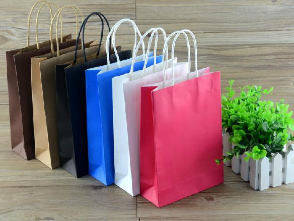 ROCOHANTI 50PCS Colored Glossy Kraft Shopping Bags With Rope Handle Can Custom Logo Printed Free Shipping