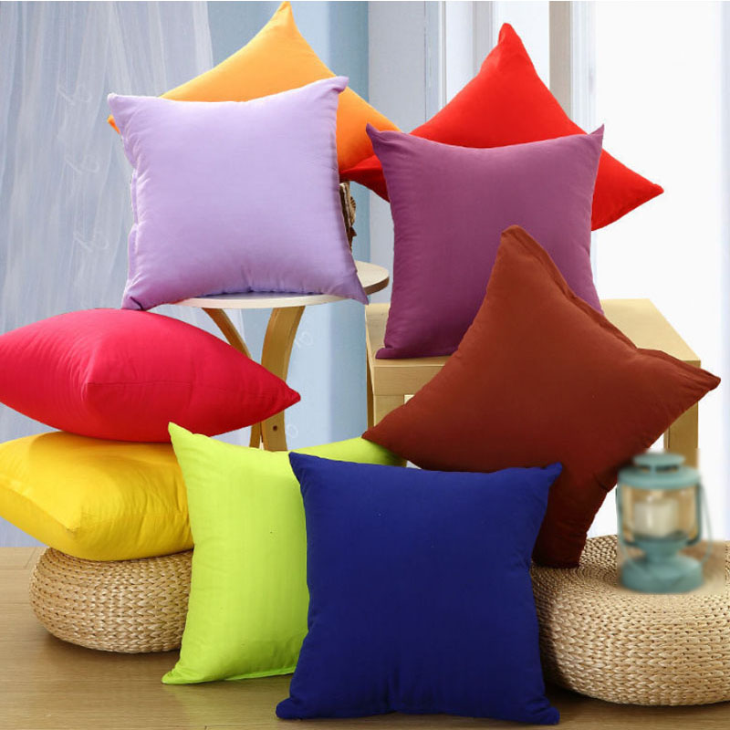 \Simple Decorative Chair Pillow Case 1PC Company Gifts For Room Solid High Quality Plain