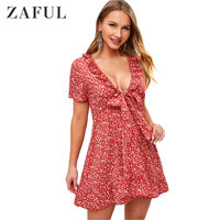 ZAFUL Hot Sale Floral Knotted Frilled Mini Dress V Neck Short Sleeves Summer Women Dress 2019 A Line Fashion Red Beach Dress