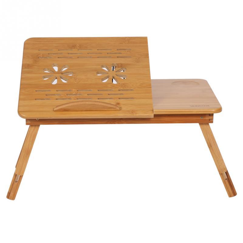 1pc Adjustable Bamboo Rack Shelf Dormitory Bed Lap Desk