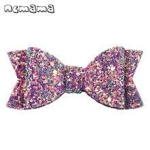 ncmama 2 Pcs/lot Hair Accessories Glitter Bows Clips for Girls Princess Hairgrips Hairpins Handmade Boutique Kids Headwear
