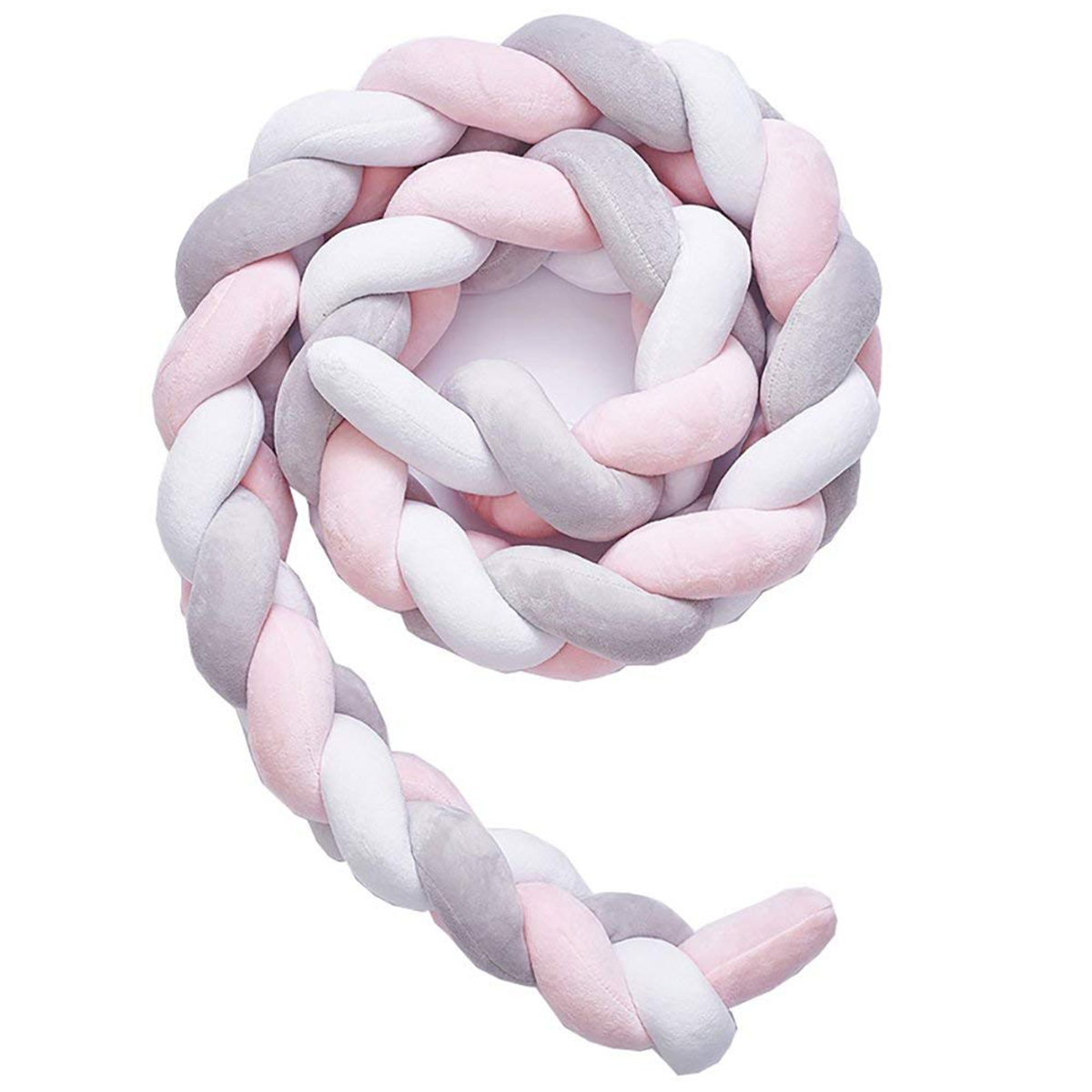 Baby Crib Bumper Knotted Braided Plush Nursery Cradle Decor Newborn Gift Pillow Cushion Junior Bed Sleep Bumper (2 Meters, Whi