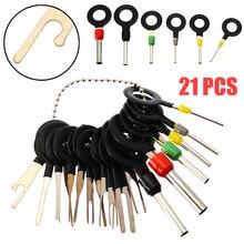 Vendas quentes 21 pçs automotivo plug terminal remover conjunto de ferramentas pino chave do carro fio elétrico crimp conector extrator kit acessórios