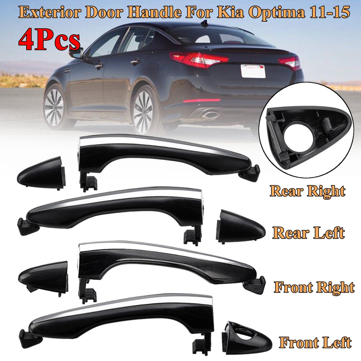 Exterior Door Handle For 2011-2015 Hyundai Sonata Front Passenger Chrome Plastic