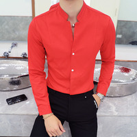 Mandarin Collar Shirt Men 2018 New Autumn Chinese Collar Solid Shirt Men Long Sleeve Stand Collar Camisa Social Masculina 5xl
