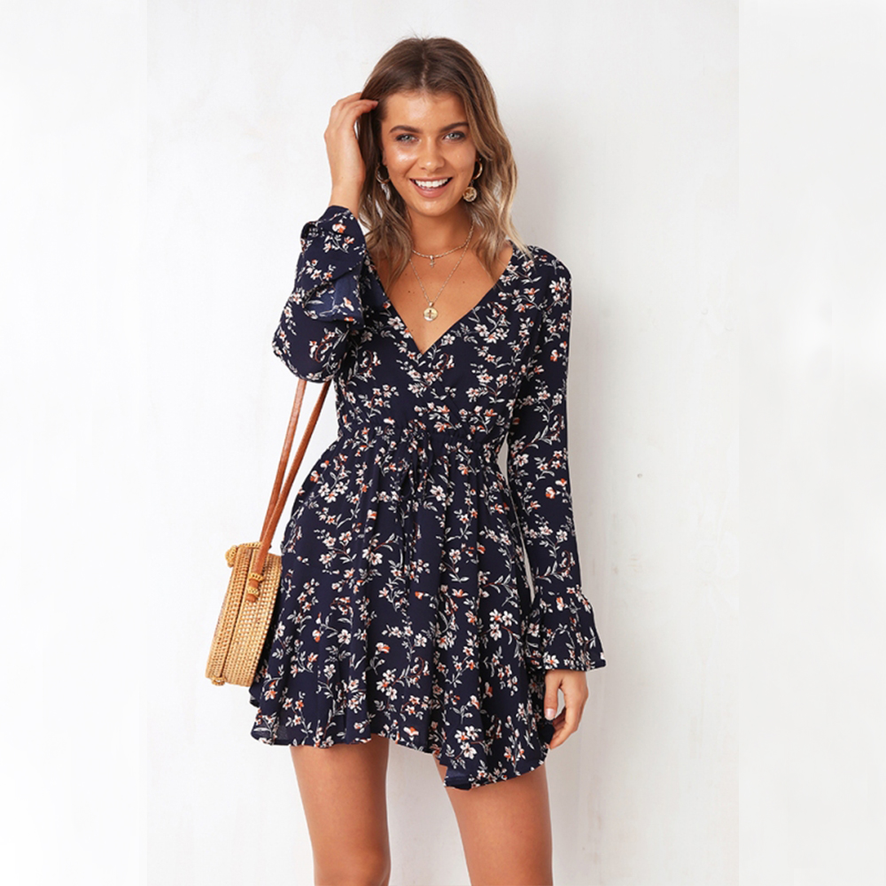 17c76b6b3 Bohemian Style Women Long Sleeve Floral Holiday Short Mini Dress Summer  Casual Evening Party Sexy V Neck Sundress Beach Dress