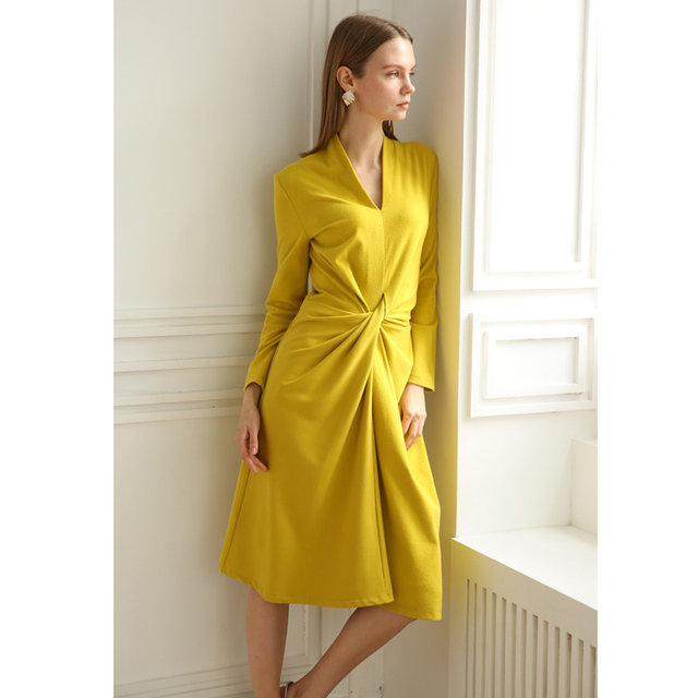 673eeb353b7 US $51.58 18% OFF|spring 2019 women mustard yellow deep v neck twist ruched  a line long sleeve knee length womens casual dresses candy color dress-in  ...
