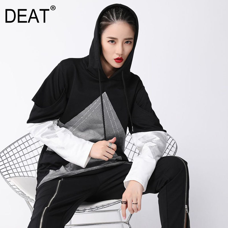 [DEAT] 2019 New Spring Hooded Long Sleeve Hit Color Hollow Out Split Joint Loose Sweatshirt Women Fashion Tide JK14
