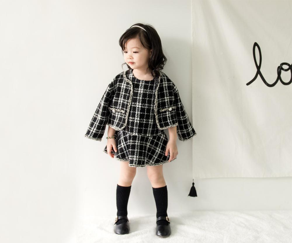 2019 New Spring Autumn Princess Girls Children Kids Tutu Plaid Two Pieces Vest Dress Set Kids Dress Coat Jackets Skirt Suits