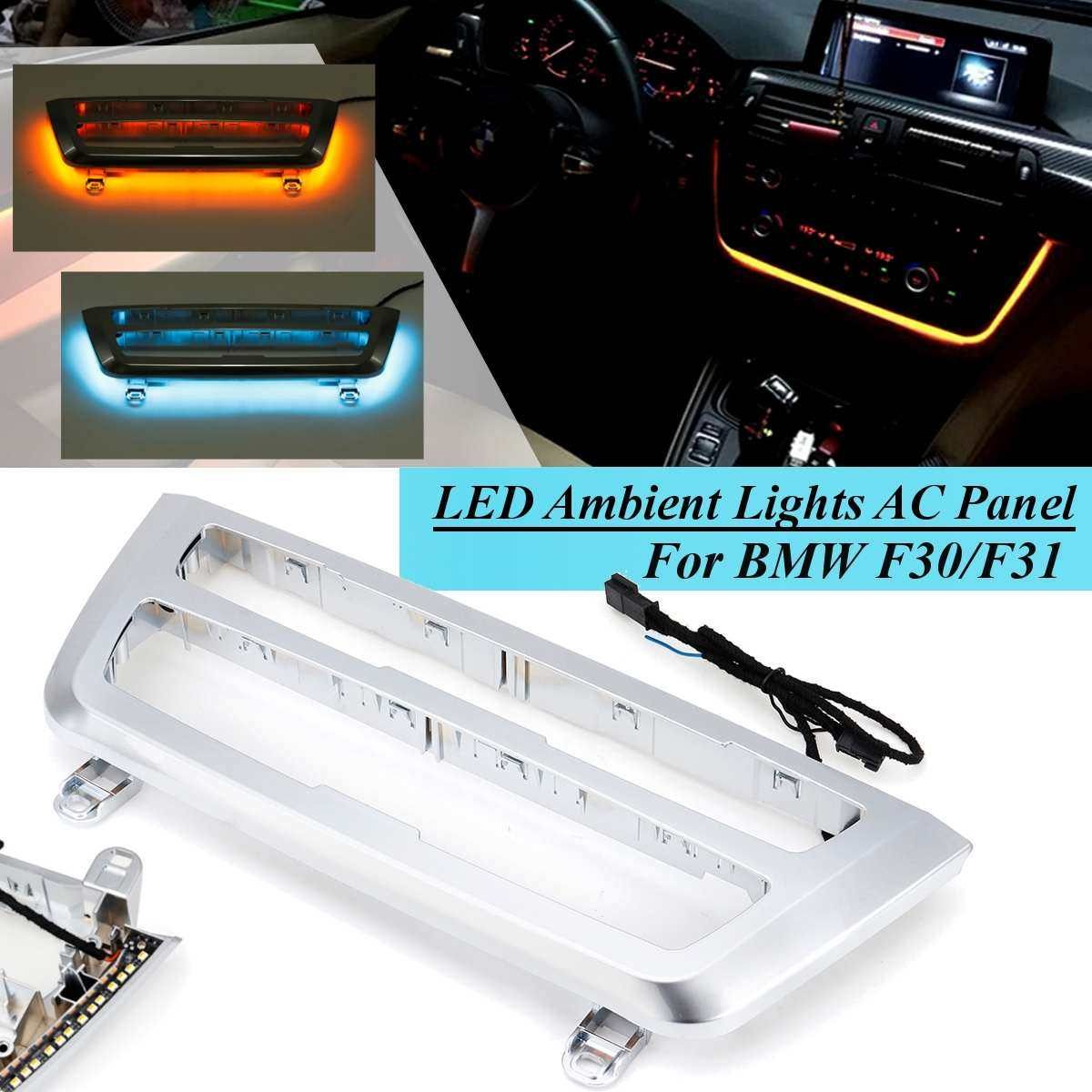 for BMW 3 & 4 series F30 LCI radio trim led dashboard center console AC  panel light with blue and orange light color