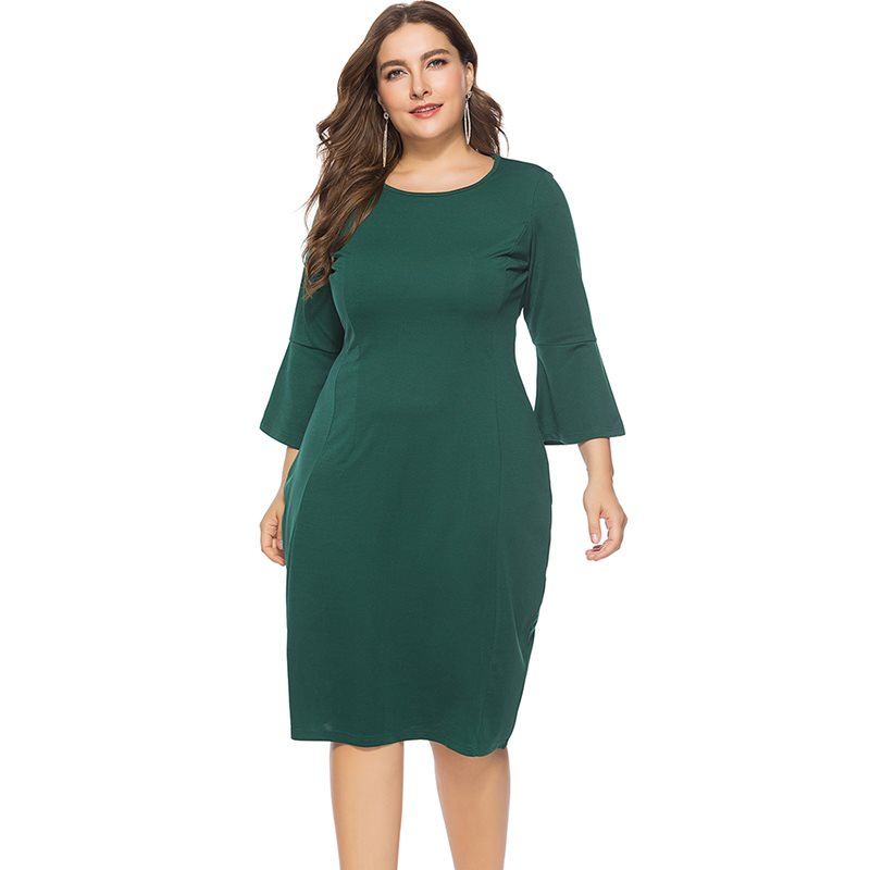 Women Midi Dresses Casual Green Elegant Black Plus Size