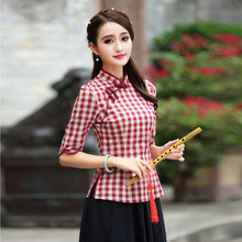 Women Plus Size Tangzhuang Lattice Chinesische Kleidung Traditional Chinese Shirts Chinois Cotton Cheongsam Tops Oriental Plaid