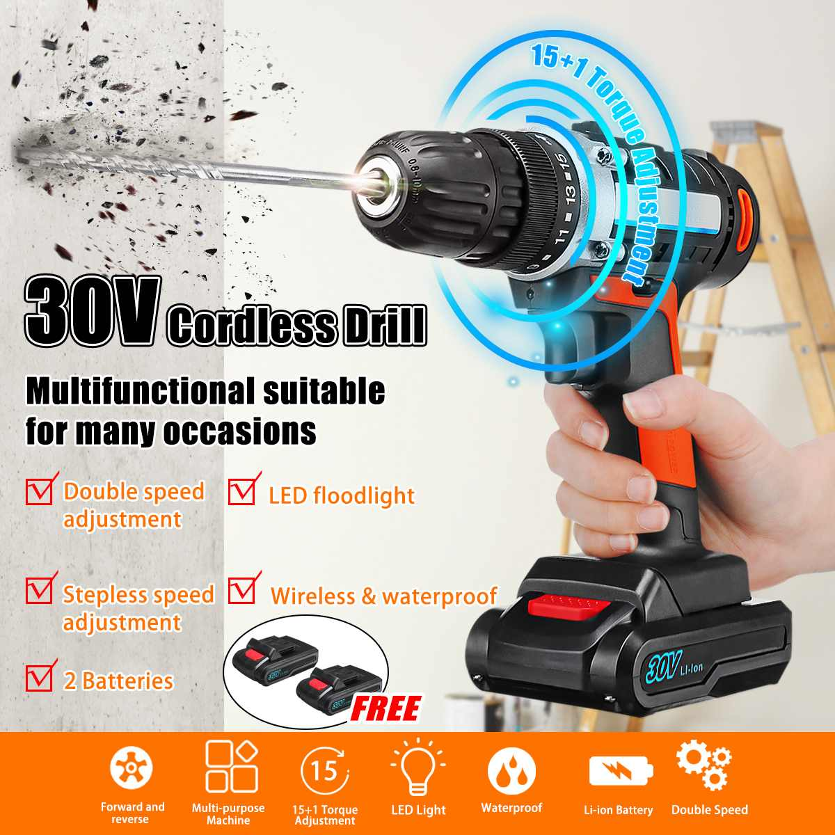30 V Sans Fil Rechargeable Puissance Perceuse Électrique Tournevis + 2 Li-ion Batteries 3/8 Mandrin LED Lumière Multi -outil