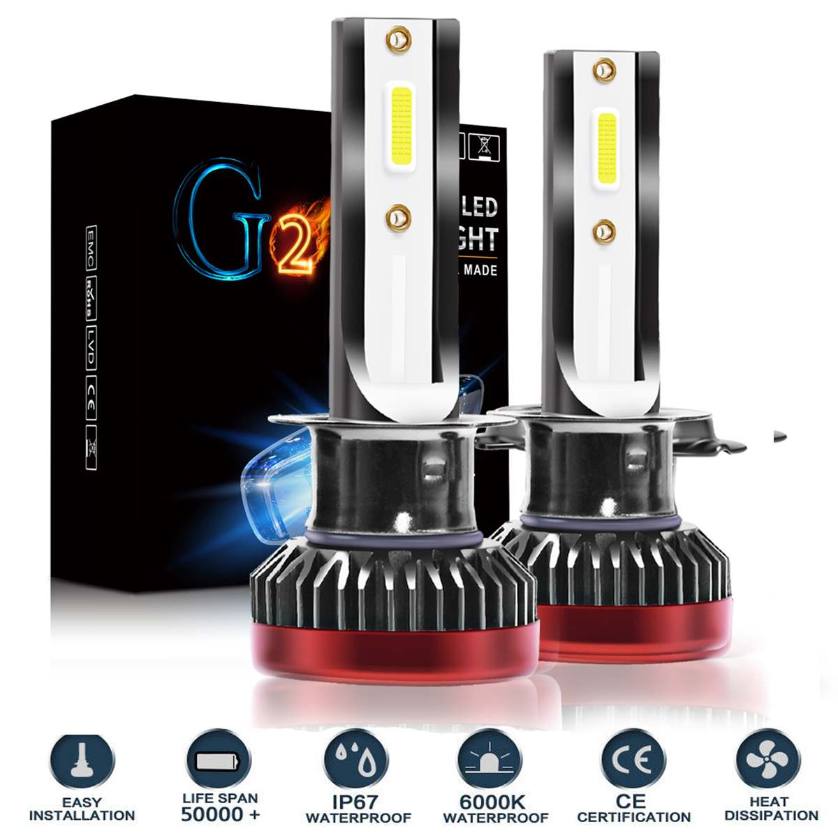 G2 Car MINI LED Headlight Bulbs Kit 160W 30000LM 6000K High/Low Beam Headlight Bulb H1 H3 H7 H8/9/11 9005/HB3/H10 9006/HB4 9012G2 Car MINI LED Headlight Bulbs Kit 160W 30000LM 6000K High/Low Beam Headlight Bulb H1 H3 H7 H8/9/11 9005/HB3/H10 9006/HB4 9012