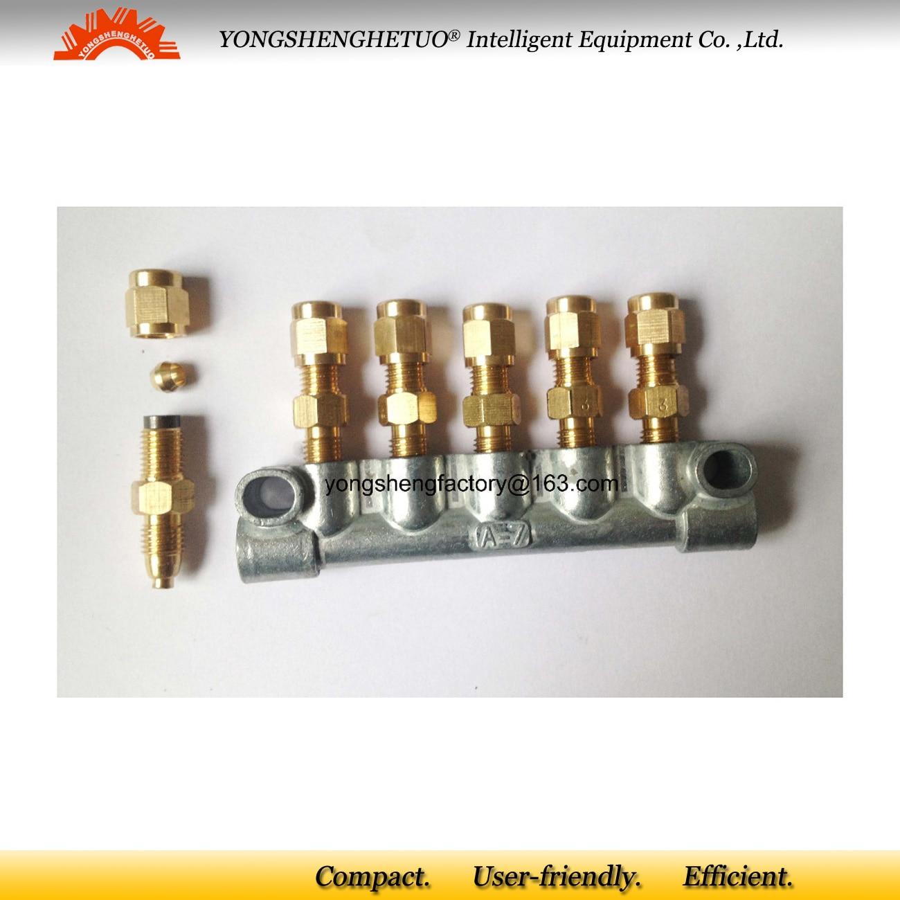 Lubrication resistance oil distributor 5 M8 1 outlet M10 1 inlet junction block oil flow piston
