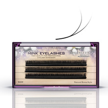 BRILLANT Three-Dimensional B+C Double Curls Grafting False Eyelashes 0.1 Thick Single Root Cluster 3D6D9D Stereo Dense Planting