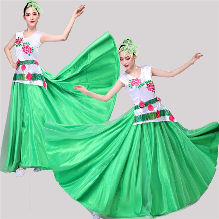 New Year Female Performance Stage Wear Sleeveless Woman Satin Spanish Flamenco Dress Chinese Gypsy Je Folk Dance Costumes