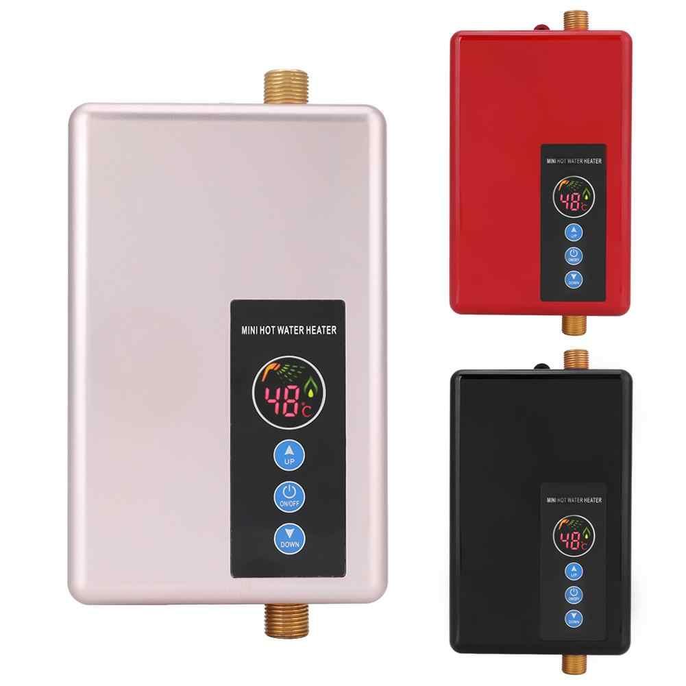 Calentador de agua instant/áneo 220 V 5500 W Mini calentador de agua el/éctrico Ducha sin tanque Sistema de agua caliente para ba/ño Cocina Lavado dom/éstico Dorado