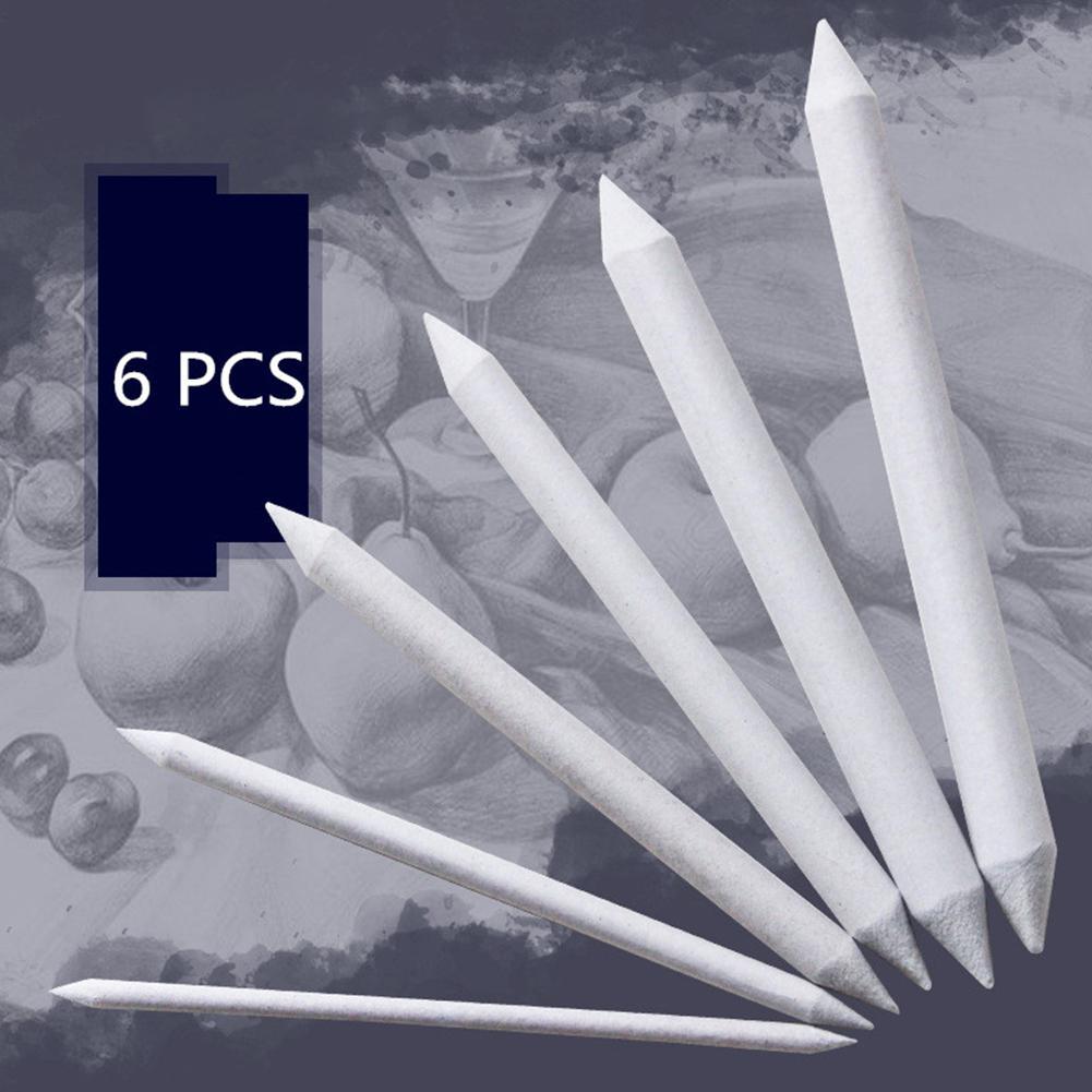 6pcs/set Double-headed Paper Brush Set Fine Arts Sketch Smudge Correction Pen
