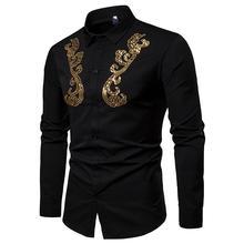 Long sleeve Shirt Camisa masculina Blouse Wedding Dress Shirt Men Golden Flower design Unique Mens White Black 2019 New unique design golden