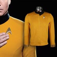 6287117db7 Star Trek Descoberta Temporada 2 Da Frota Estelar Capitão Kirk Camisa  Crachá Uniforme Trajes Homens Adultos