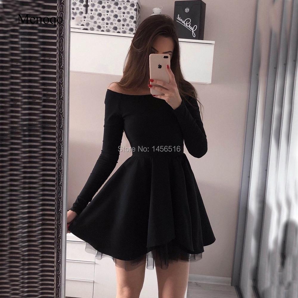Us 8064 36 Offoff Shoulder Long Sleeve Short Elegant Cocktail Dresses Vestidos Coctel Mujer 2019 A Line Black Cocktailkleid Graduation Dresses In