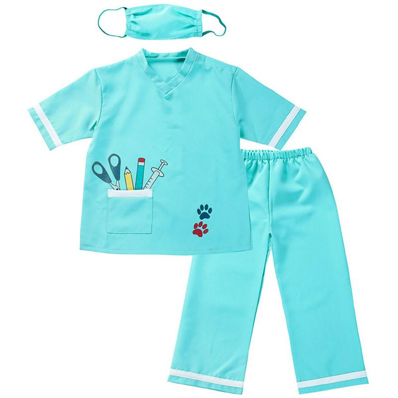 Kids Doctor Halloween Cosplay Party Costume Children Doctors Role Play Professional Game Suits Dress-Up Set Party Costumes