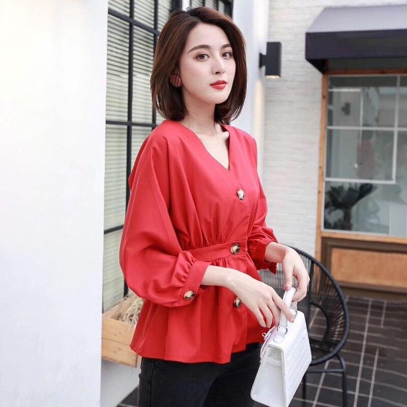 Blue Twotwinstyle Femme Automne V pink Femmes Trimestre Neuf Blouse yellow De red Cou Mode Nouveau Chemises Tunique Poitrine Unique Vêtements 2018 Coréenne Tops HEqTRnxHr