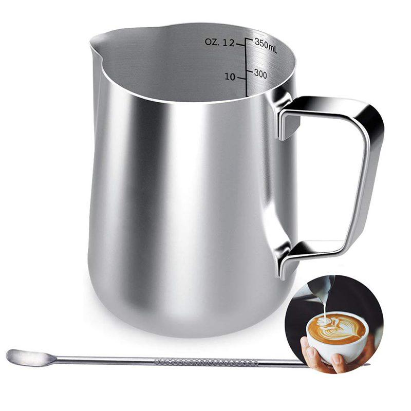 Milk Jug, 350Ml Handheld Coffee Creamer Milk Frothing Pitcher Jug Cup With Measurement Mark And Latte Art Pen, Milk Pitcher Ju