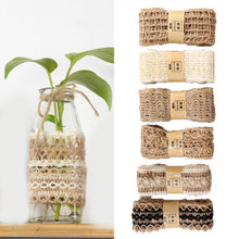 Hot 2M/Roll Party Crafts Ribbon Wedding Festival Decoration Natural DIY Hemp Ribbon Gift Wrapping Jute Burlap Festival Supplies(China)