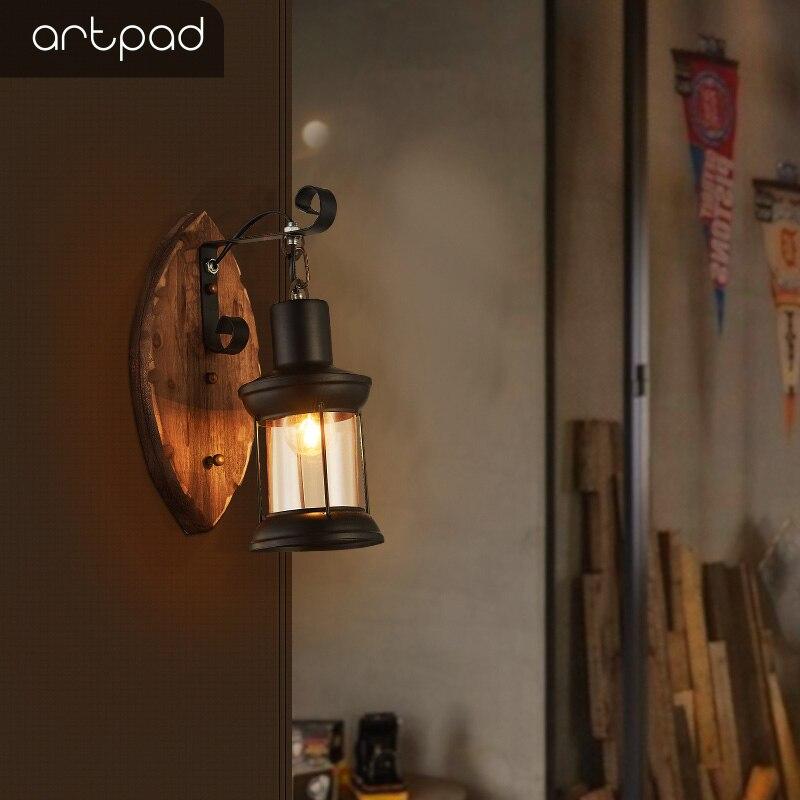 Artpad Retro Massief Houten Wandlamp Industrical Stijl Voor Bar Gang Nachtkastje Studie Persoonlijkheid Restaurant Doek Winkel Decoratie
