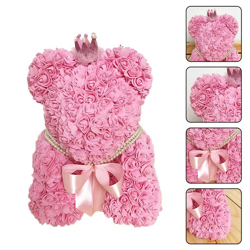 Mignon PE Rose ours jouet femmes filles fleur anniversaire mariage décoration fête poupée jouet anniversaire saint valentin cadeau pour fille amie