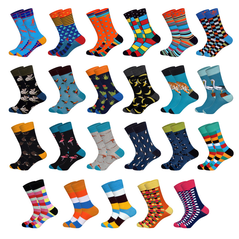 2019 New Brand Happy   Socks   for Men Eur40-46 British Style Casual Animals Designer Cotton   Socks   Long Chaussettes Homme Fantaisie