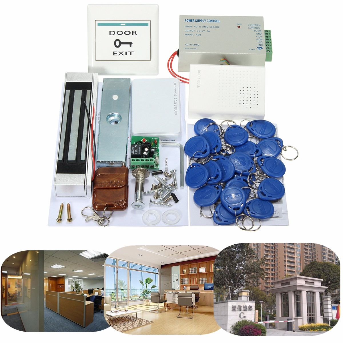 A Complete set of RFID Door Access Control System Kit Set With Lock RFID+power+magnetic lock+door exit+keys free shipping free shipping 3000 users complete access control system kit set with electric bolt lock keypad power remote door bell exit keys