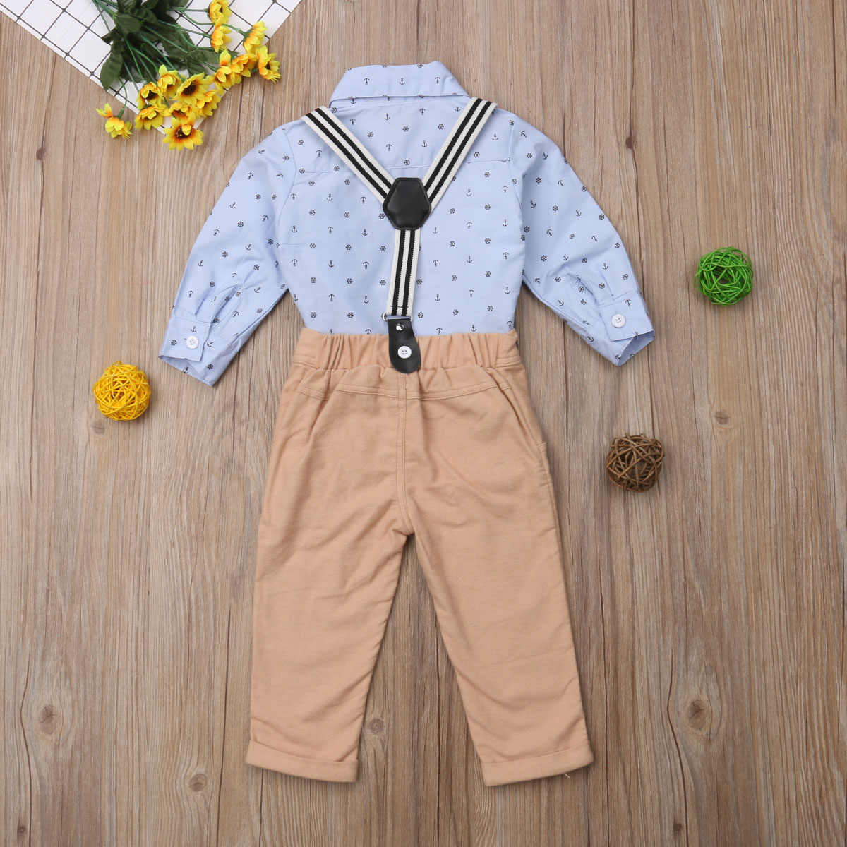 5f4c2cad2 ... Kid Boy Bodysuit Bow Tie Long Sleeve Bib Long Pants 2pcs Wedding Formal  Outfit Baby Kid