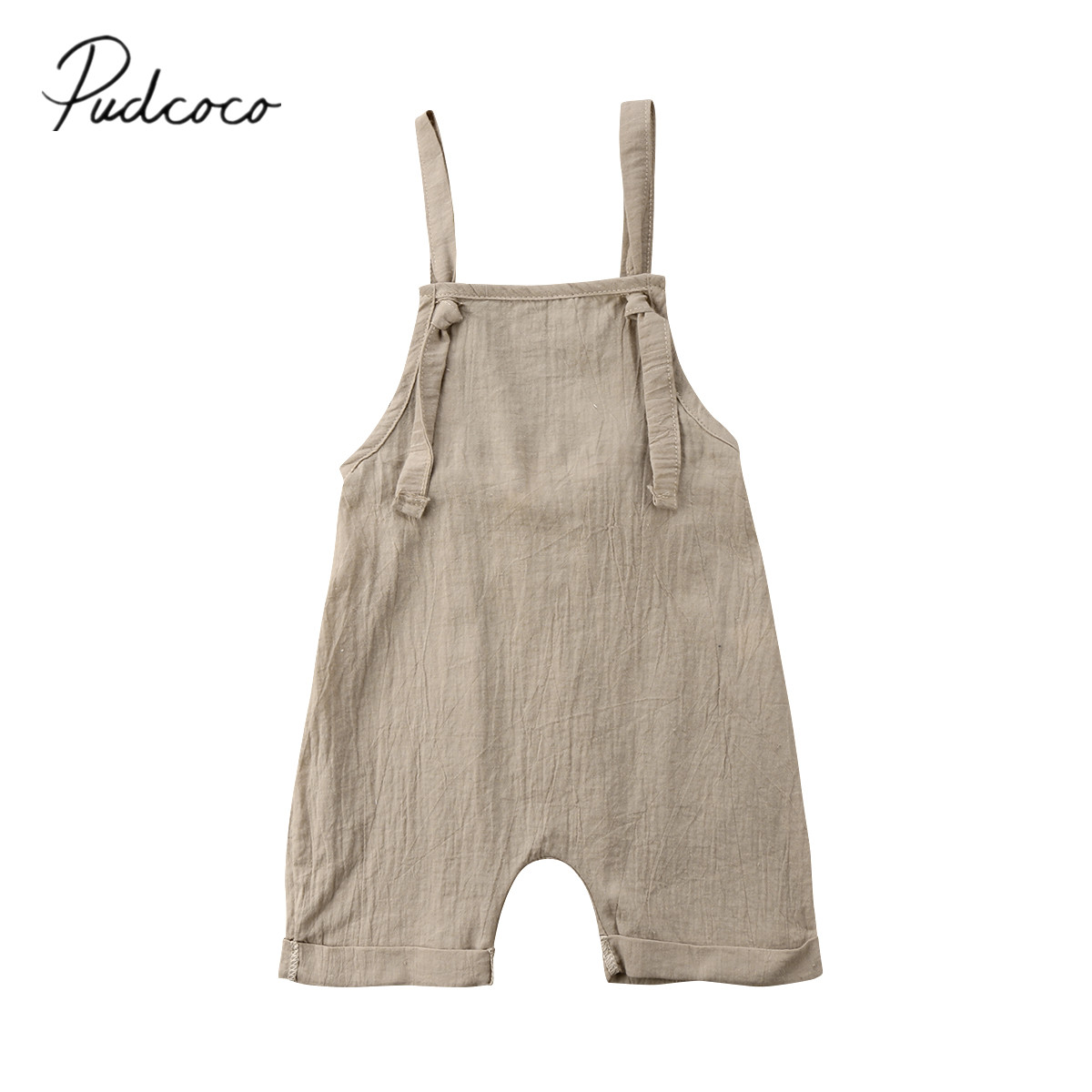 2018 Brand New Toddler Infant Newborn Kid Boy Girl Bib Pants Romper Jumpsuit Playsuit Outfit Solid Summer Clothes Wholesale 0-3T