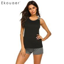 Ekouaer 女性パジャマ夏パジャマセット O ネックノースリーブコントラストカラーのベストのトップスとショーツパジャマセットホームウェア服