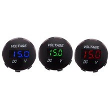 1pcs DC 12V-24V Car Motorcycle LED Panel Auto Boat Digital Display Volt Voltage Gauge Meter Blue Red Green 3 Colors Selected цены