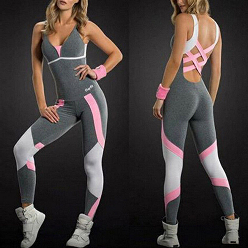 2020 New Brand Women Ladies Patchwork Bandage Gym Playsuit Clothes Exercise Sport Running Sportswear Hollow Out Soft Jumpsuit