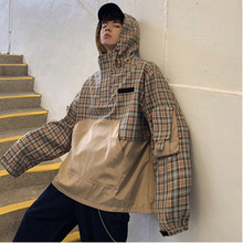 Spring New Jacket Men Fashion Plaid Hooded Casual Trend Wild Pullover Man Streetwear Hip Hop Loose Bomber