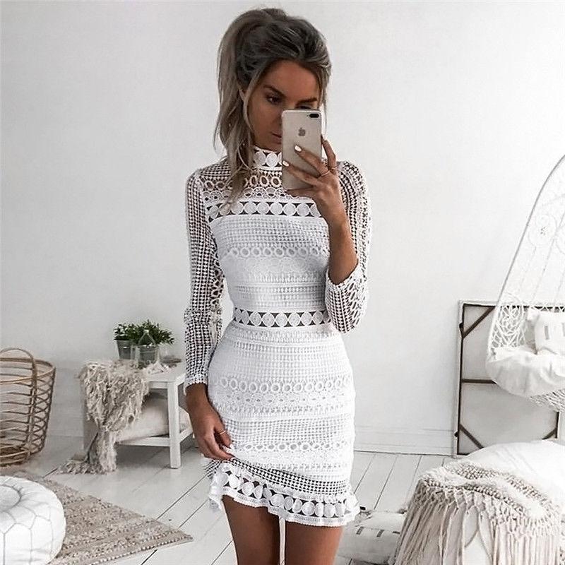 386bfa263ee0 Women Formal Sexy Skinny Dress Long Sleeve Turtleneck Slim Lace Geometric  Ruffles White Mini Dress Outfit