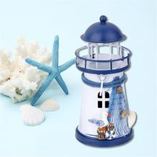 Средиземноморский стиль подсвечник инновационный домашний декор миниатюрный маяк/Ручная роспись Маяк железная модель/свечи