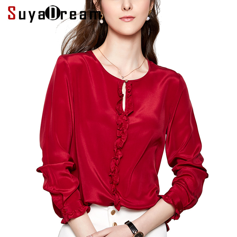 Women Silk Blouse 100 REAL SILK CREPE Solid Color Blouses for Women O Neck Long Sleeved
