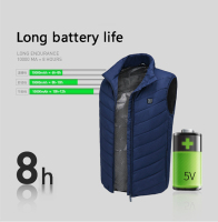 Heated USB Sleeveless Jacket Vest Full Zipper Outdoor Heated Coats Temperature Control Safety Clothing Workplace Safety Supplies